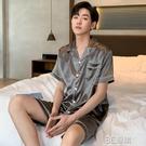 夏季男士睡衣2021新款短袖薄款冰絲青少年家居服大碼絲綢春秋套裝 3C優購