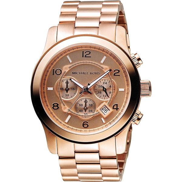 Michael Kors MK 氣質名媛三眼計時手錶-玫瑰金 MK8096