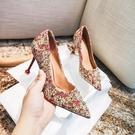 結婚鞋女細跟紅色高跟中式