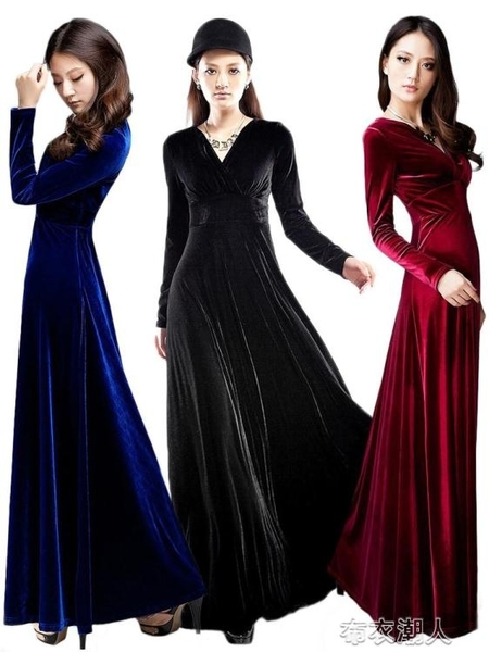 禮服 新款秋冬季貴夫人金絲絨連衣裙闊太太修身長袖大擺長裙晚禮服 布衣潮人