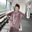 運動上衣 運動上衣女夏長袖彈力寬鬆顯瘦健身服跑步罩衫速乾T恤瑜伽服-Ballet朵朵