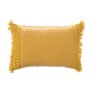 HOLA 莉婭花邊抱枕30x45cm流蘇黃