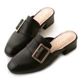 amai金屬方釦皮帶小方頭穆勒鞋 黑