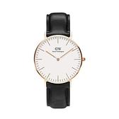 【Daniel Wellington】CLASSIC瑞典時尚品牌經典簡約真皮腕錶-爵士黑x玫金-36mm/DW00100036/原廠兩年保固