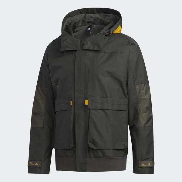 Adidas FUNC 男裝 外套 連帽 休閒 內刷毛 保暖 多口袋 可調節衣領束帶 深綠【運動世界】GM4398