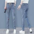 哈倫牛仔褲女小個子高腰秋新款潮直筒寬鬆顯瘦老爹蘿卜褲子 黛尼時尚精品