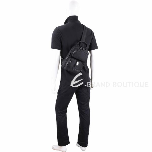 口袋設計尼龍手提斜背單肩包(黑色) 1930395-01
