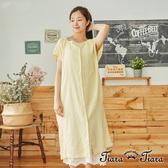 【Tiara Tiara】 花葉微透光拼接短袖洋裝(白/黃)