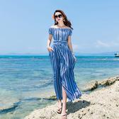 洋裝原創設度假長裙 清新藍條紋洋裝女神海灘裙【快速出貨】