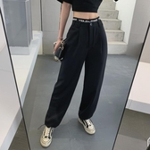 韓國闊腿褲女寬褲2020夏季顯瘦高腰抽繩束腳褲網紅同款假兩件休閑直筒褲潮