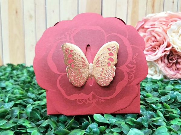 紅色蝶戀花喜糖盒 婚禮小物 二次進場 開幕禮 姊妹禮 包裝盒 生日 耶誕節【皇家結婚百貨】