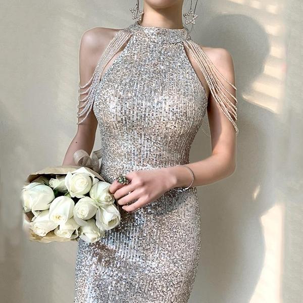 肩流蘇高端晚禮服女 新款洋裝氣場女王 大氣魚尾生日連身裙高級質感  店慶降價