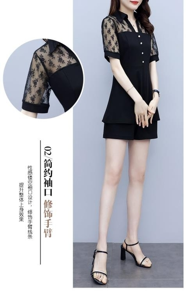 套裝兩件套實拍L-5XL大碼衣著棉花糖女生大碼女裝蕾絲網紗減齡時尚遮肚短褲3F029E.3662胖胖唯依