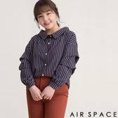 中大尺碼襯衫 配色直條紋抓皺袖翻領襯衫1色 -AIR SPACE