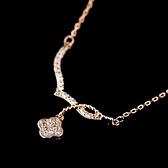 項鍊 玫瑰金 鑲鑽純銀吊墜-精緻花朵生日情人節禮物女飾品73dw60【時尚巴黎】