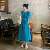 2020新款法式設計感小眾裙子收腰顯瘦洋裝女夏季性感氣質長裙-鹿角巷