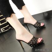 涼拖鞋女夏時尚高跟細跟拖鞋女外穿 易樂購生活館