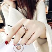 戒指 食指鈦鋼戒指女不掉色日韓玫瑰金潮人網紅學生個性大氣時尚指環女