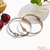 韓版情侶手鐲 男女手環飾品鍍18k玫瑰金個性潮人鈦鋼首飾