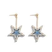 超閃水鑽五角星星耳環 長版迷你耳飾品