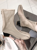 網面短靴女夏季新款百搭粗跟馬丁靴透氣靴子網靴鏤空帶跟