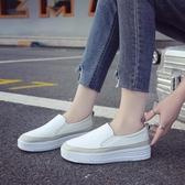 2020新款小白鞋鬆糕鞋女厚底樂福鞋平底單鞋休閒懶人一腳蹬女鞋潮  免運快速出貨