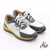 A.S.O 輕漾彈力 全真皮撞色奈米綁帶休閒鞋 白色