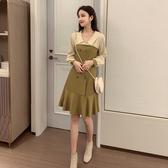 超殺29折 韓國風名媛收腰顯瘦V領雪紡復古氣質長袖洋裝