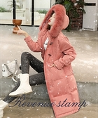 真狐狸毛領保暖羽絨衣牛角釦羽絨外套女中長版【22-25-82006-20】ibella 艾貝拉