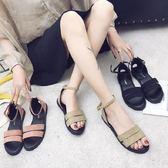 涼鞋平底涼鞋女夏學生百搭簡約一字帶平跟羅馬一字扣露趾沙灘女鞋