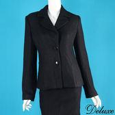【Deluxe】知性魅力百搭時尚西裝毛呢長袖外套(黑)