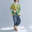 上衣 - A6868 夏日風黃綠花朵輕薄棉上衣【加大F】