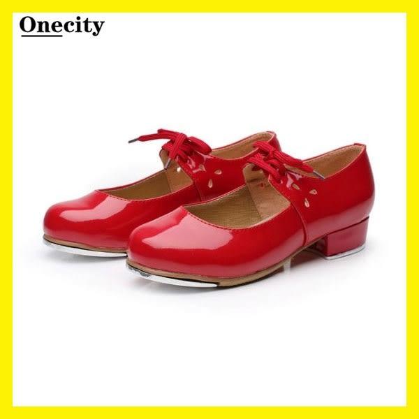 踢踏舞鞋女式兒童成人鋁板底踢蹋舞鞋紅色黑色亮革平根舞蹈鞋