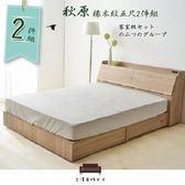【UHIO】秋原-橡木紋5尺雙人2件組(床頭箱+收納床底)