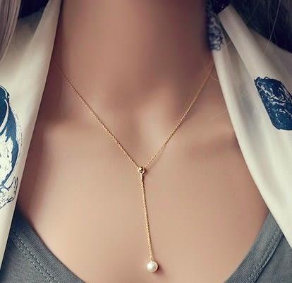 韓版 Tasaki同款珍珠s925純銀項鍊-玫瑰金。【BeautyBox】P1604S1050