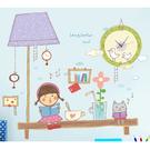 BO雜貨【0609】創意可移動 時鐘壁貼 兒童房教室佈置 童趣 燈下書桌小精靈 檯燈女孩SA-2-004W