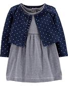 【美國Carter's】套裝2件組 - 條紋包屁式洋裝+小外套 #17885210