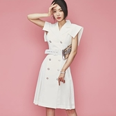 2019新款時尚韓版職業裝西裝領雙排扣收腰系帶修身中長款連身裙夏
