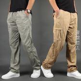 男褲子休閒褲夏季薄款直筒加肥加大碼多口袋工裝褲  街頭潮人
