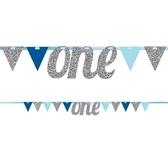 1歲生日字串-藍色三角旗