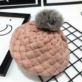 寶寶帽子秋冬天6-12個月兒童大毛球保暖針織帽男女寶寶毛線帽護耳 至簡元素