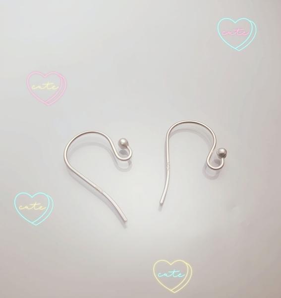 晴日小舖 Silver 純銀 銀色 圓珠 耳鈎 DIY 素銀無電鍍 1對價 [ spp 004 ]