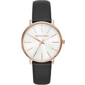 Michael Kors Pyper 紐約時尚手錶-黑x玫塊金框/38mm MK2834