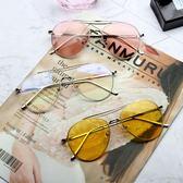 太陽鏡 墨鏡黃色太陽鏡日韓個性男士蛤蟆鏡女款潮太陽眼鏡 巴黎時尚