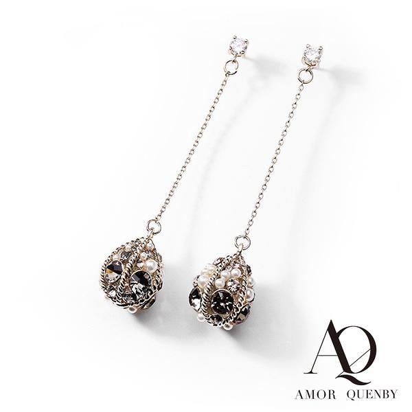 AQ 925純銀 復古個性感水晶點綴耳環/耳針(AMOR Quenby)