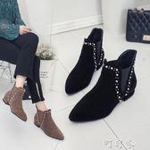 歐美時尚鉚釘女尖頭一腳蹬平底內增高休閒女短靴女鞋 盯目家