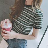短袖t恤女新款韓風冰絲條紋打底針織衫半袖體恤短款上衣夏    韓小姐