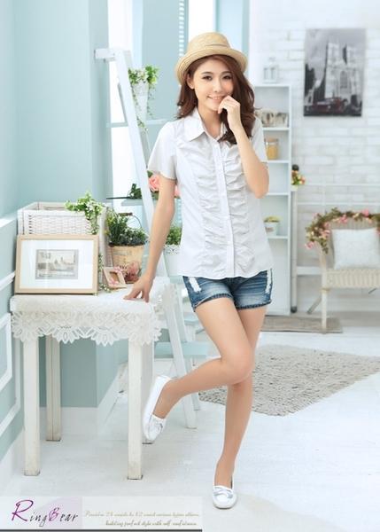 襯衫--展現新潮抓皺設計修身素面短袖襯衫(白.黑.灰S-XL)-H149眼圈熊中大尺碼
