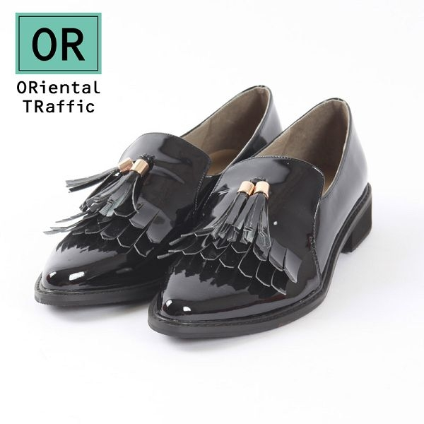 【ORiental TRaffic】經典風尚多層流蘇樂福鞋-經典黑