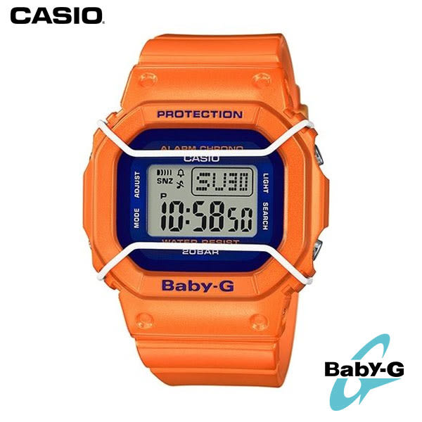 CASIO BABY-G 亮橘藍邊護圈方形防水運動電子錶 BGD-501FS-4 公司貨 | 名人鐘錶高雄門市